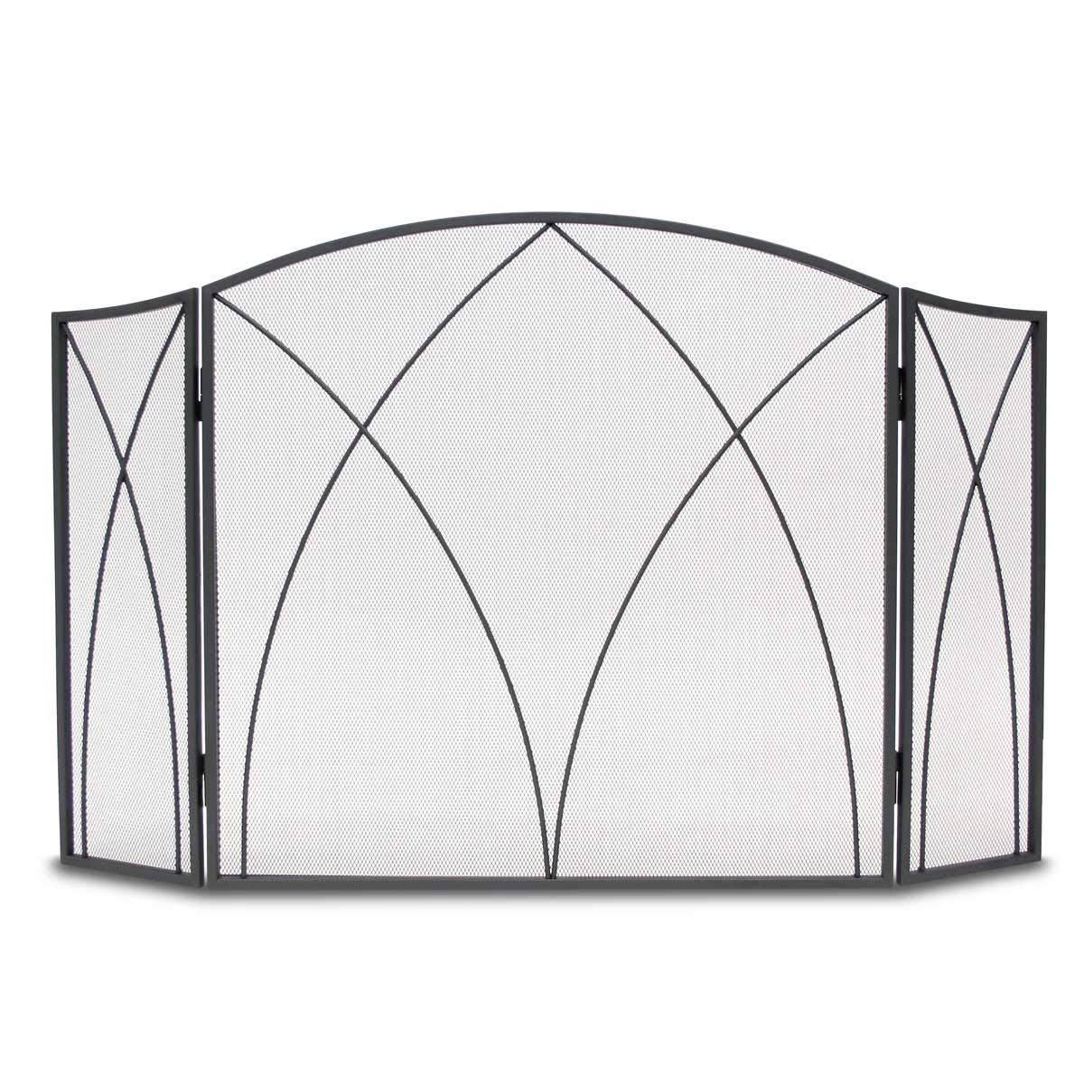 Napa Forge Spire Fireplace screen with arch frame 3 panels Black