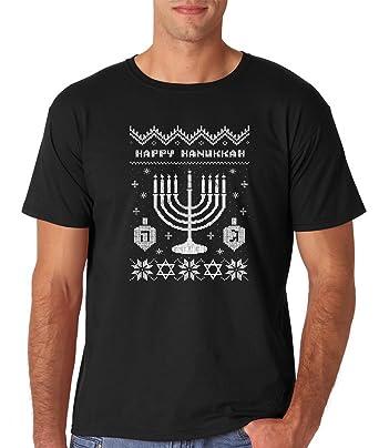 50f1621f3 Amazon.com: AW Fashions Funny Happy Hanukkah - Ugly Christmas Sweater -  Jewish Holiday Office Party Men's T-Shirt: Clothing