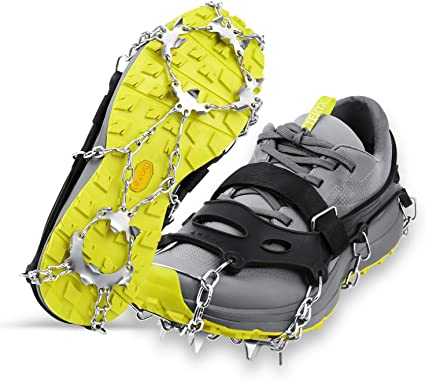 Ice Cleats Crampons 1 Pair 19 Stainless Spikes Traction Cleats Fishing Hiking