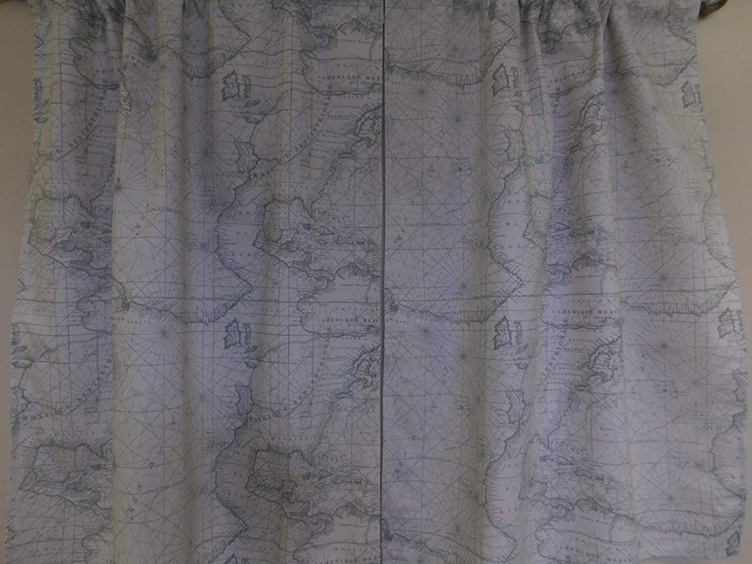 World map curtain - 2 panels/Tiers - Window/Kitchen, Bath, Laundry, basement, office kids daycare, cafe style country, grey and off-white, restaurant curtains 32L