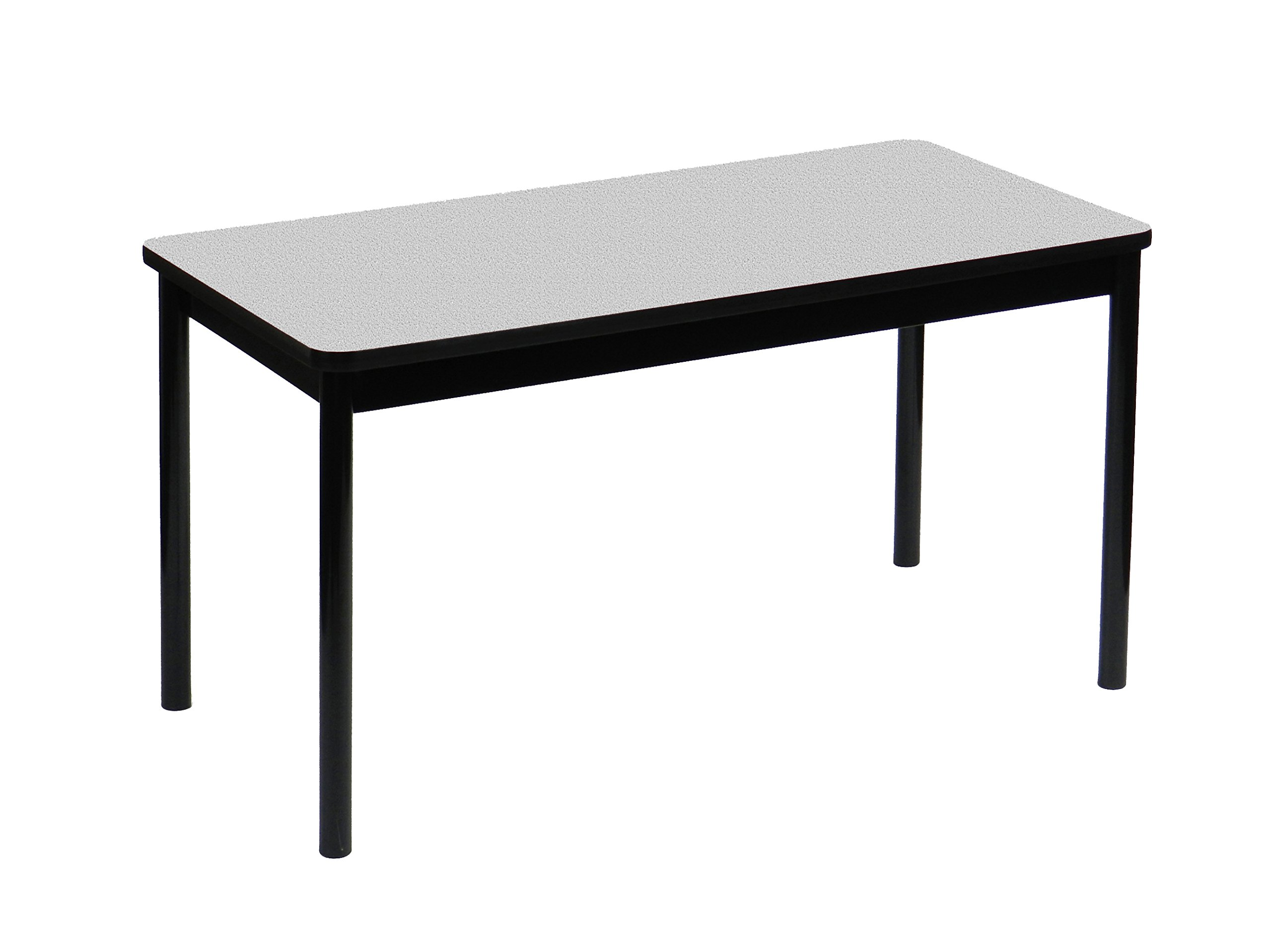 Correll 36'' High Standing / Stool Height Utility Table, 24'' x 72'' Gray Granite High-Pressure Laminate Top with Black Frame , Rock Solid Commercial Quality (LT2472-15)