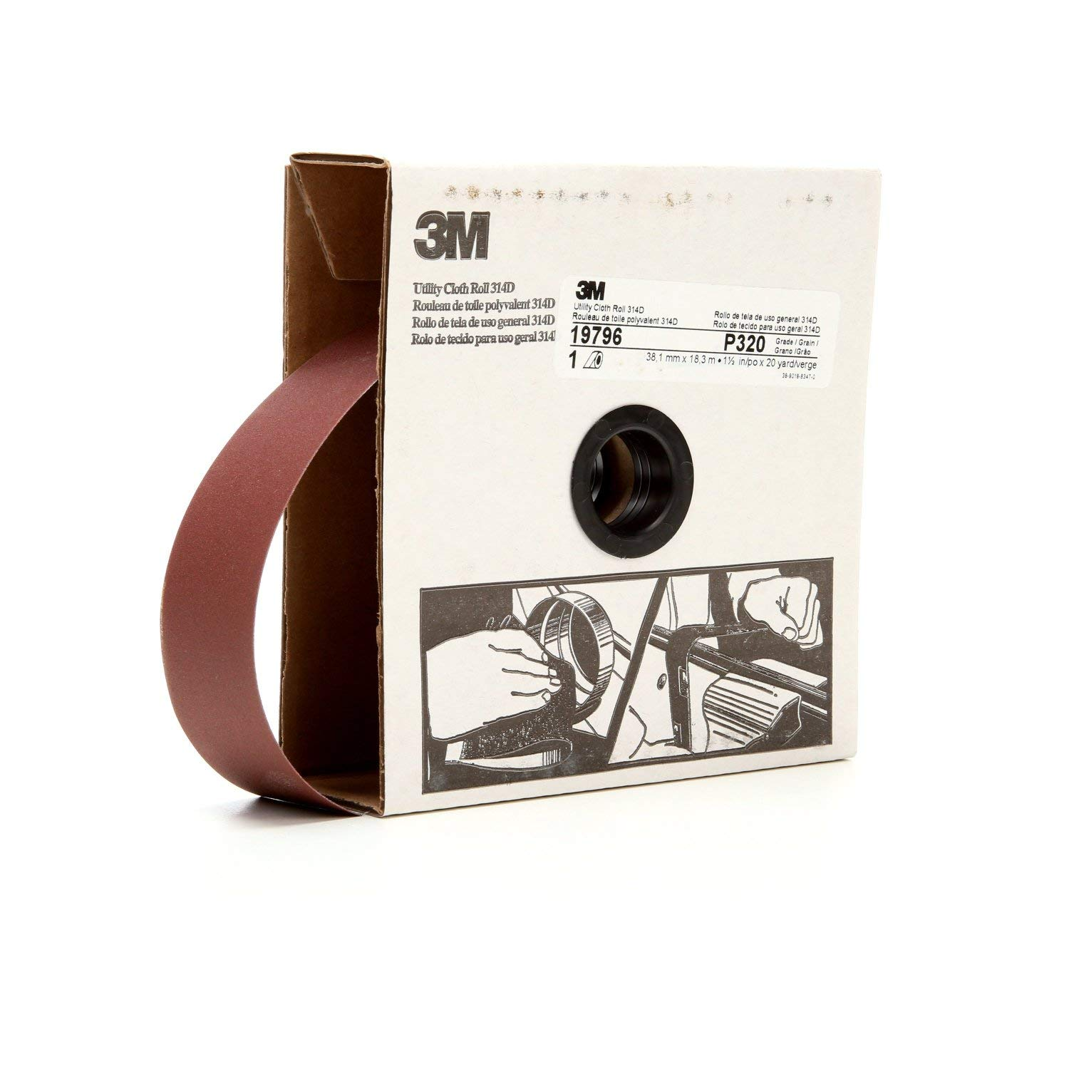 """3M Utility Cloth Roll 314D, Aluminum Oxide, 1-1/2"""" Width x 20 yds Length, P320 Grit, Maroon (Pack of 1)"""