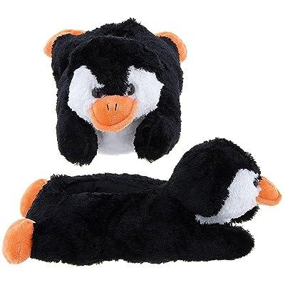 Wishpets Black Penguin Animal Plush Fuzzy Slippers | Slippers
