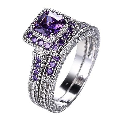 Amazon Com Ft Ring Elegant Amethyst Ring Set White Gold Filled For