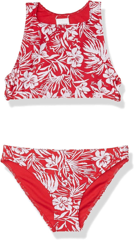 Roxy Girls Big Enjoying Waves Crop Top Swimsuit Set
