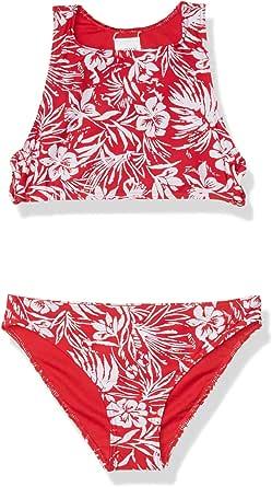 Roxy Girls' Big Enjoying Waves Crop Top Swimsuit Set