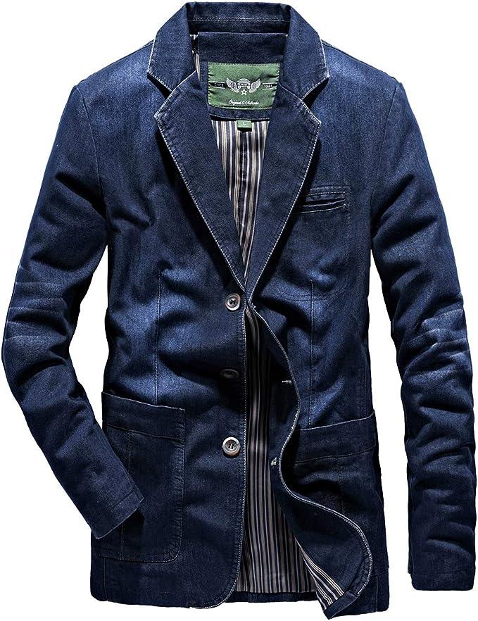 D.IIZOO テーラード デニムジャケット メンズ 春 秋 服 テーラードジャケット 3つボタンアウター メンズ デニムスーツ カジュアル ビジネス 大きいサイズ