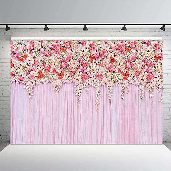COMOPHOTO 5x7ft Newborn Painting Photography Backdrops Pink Flower Seamless Polyester Background for Photo Studio Backdrops