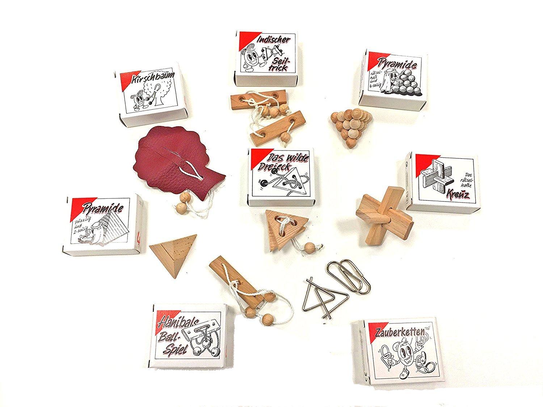 Knobelspiel Klassiker Sets - diverse Mitgebsel - Spiele einzeln verpackt incl Lösung - Geduldspiele Geschicklichkeitsspiele Puzzlespiel Knobelspiele Set Rätselspiele Adventskalender Inhalt (16-er)