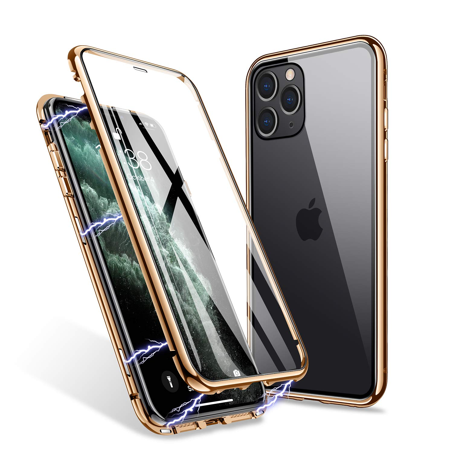 ZHIKE iPhone 11 Pro Case, Magnetic Adsorption Case Front and Back Tempered Glass Full Screen Coverage One-piece Design…