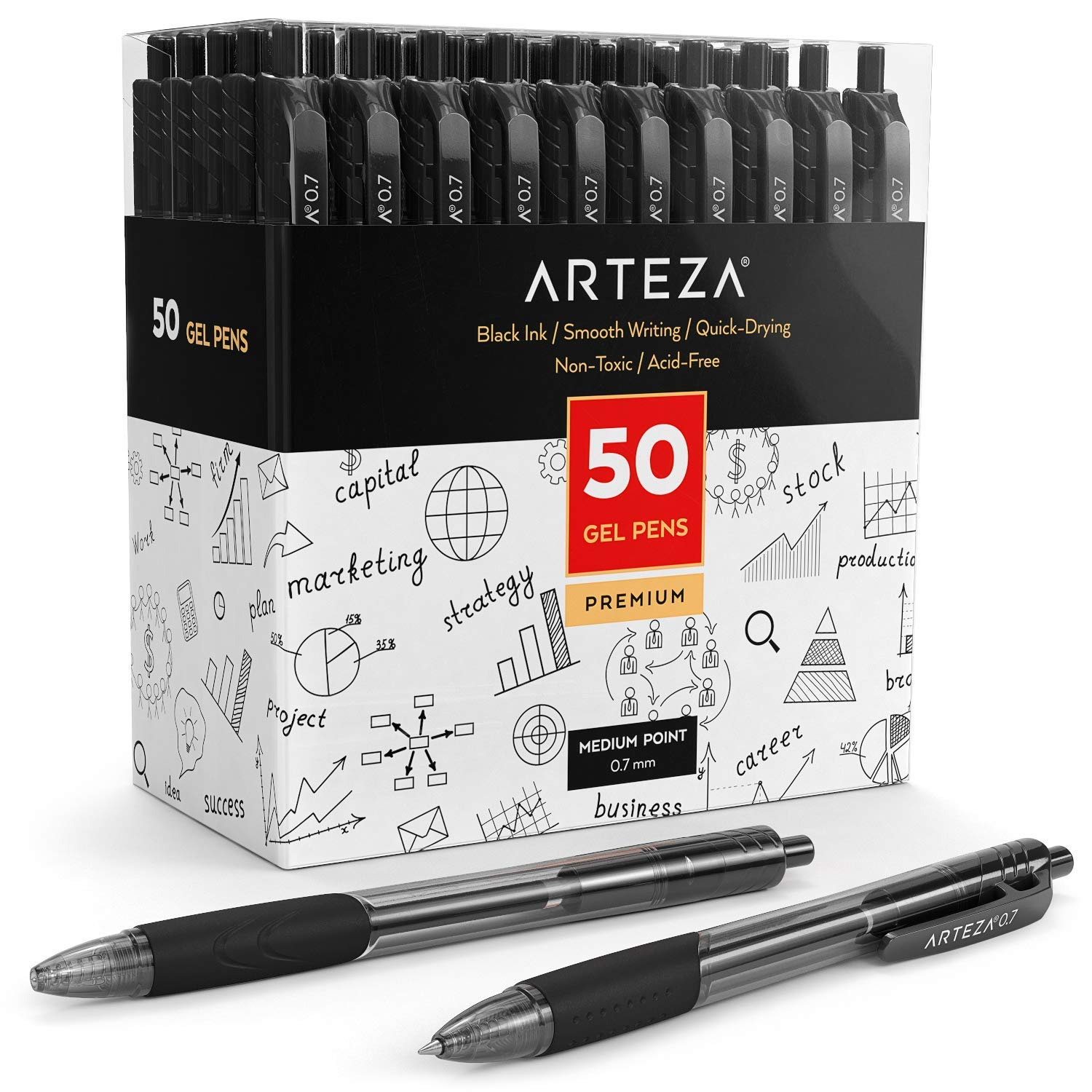 Arteza Gel Ink Roller Ball Retractable Pens, Set of 50 Quick Drying Black Gel Pens for Work, Writing, Note-Taking, Studying, Journaling & Sketching by ARTEZA