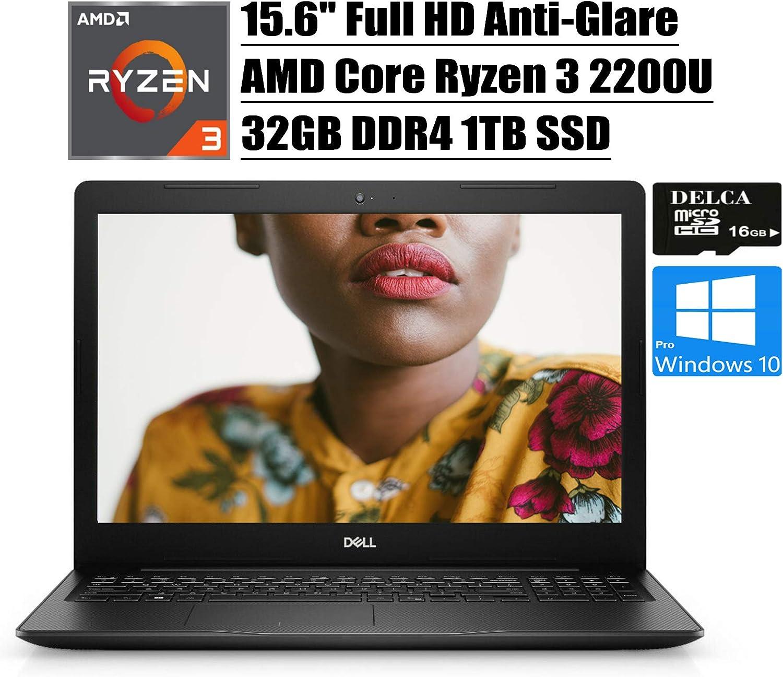 """Dell Inspiron 15 3000 3585 2020 Premium Laptop Computer I 15.6"""" FHD Anti-Glare I AMD Ryzen 3 2200U (>i5-7200U) I 32GB DDR4 1TB SSD I AMD Radeon Vega 3 WiFi Win 10 Pro + Delca 16GB Micro SD Card"""