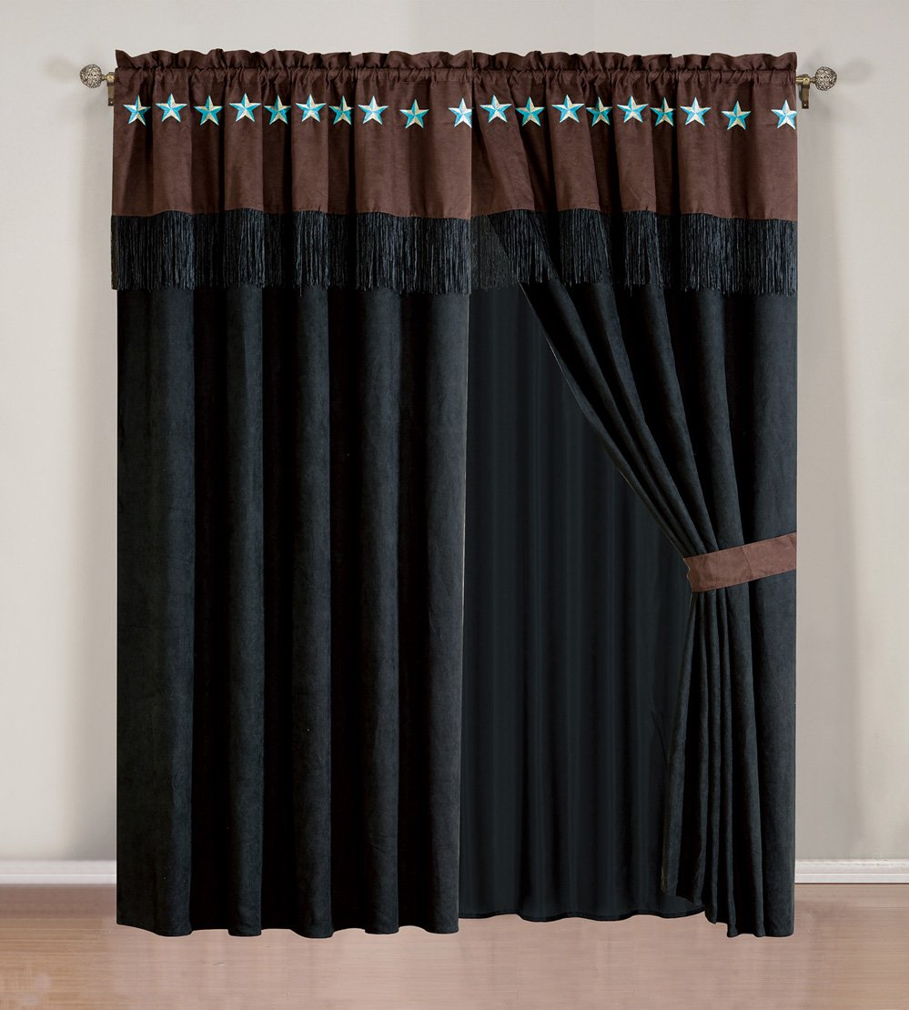 Curtain Set 4 Piece Drapes Valance Western Brown Turquoise