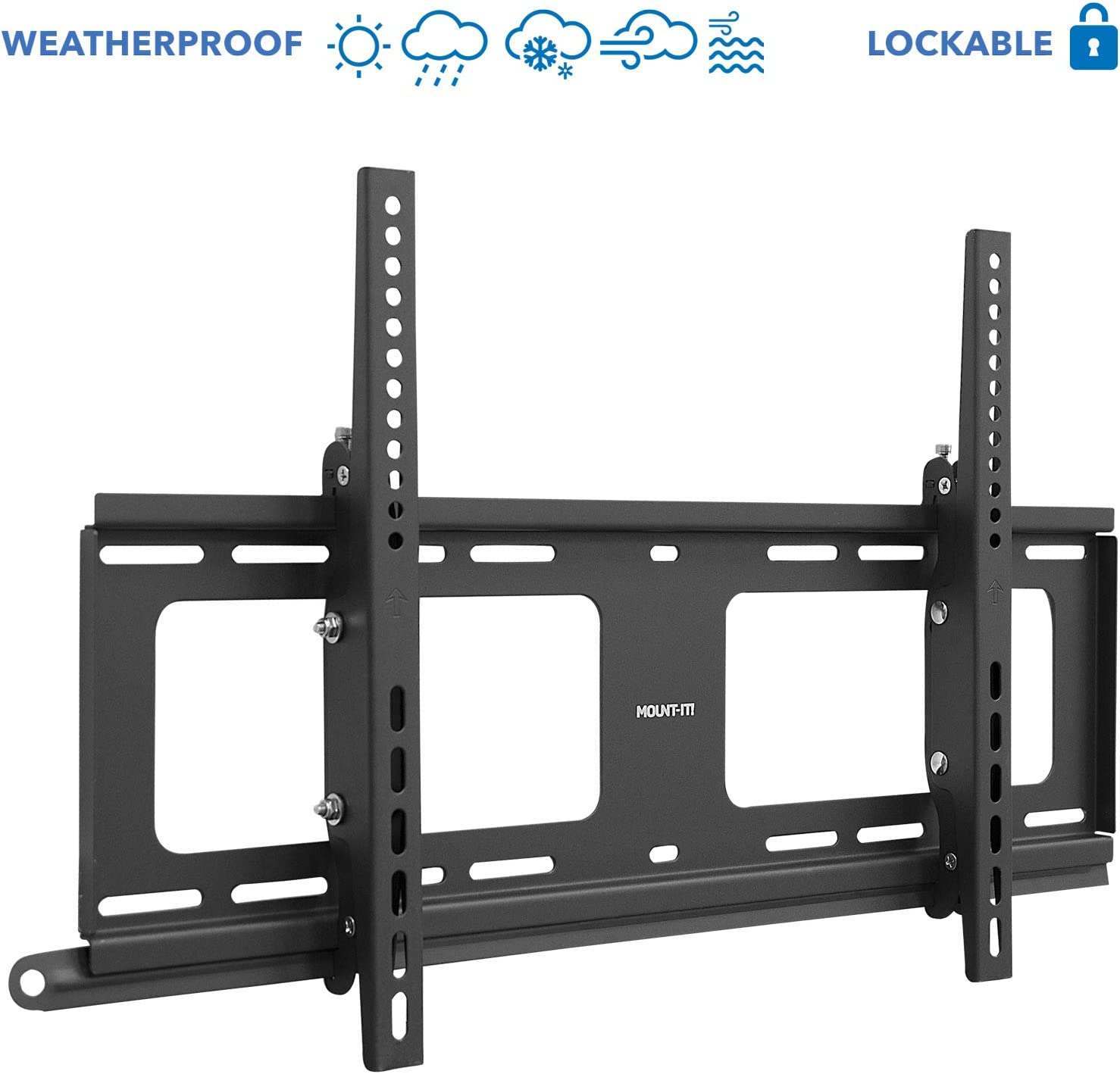 "Mount-It! Weatherproof Outdoor TV Wall Mount | Lockable & Tilting 2.1"" Low Profile Design Fits 37 38 42 50 55 58 60 65 70 75 80 Inch Televisions 