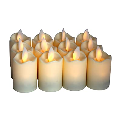 Flameless Candles - LED Votive Tea Lights - Flickering Dancing Flame - Battery Operated - Worry-Free -Non-Wax - Unscented Candle -Set of 12 - Decorative Candles for Subtle, Soothing Light 1.5 x 2 in.: Home Improvement