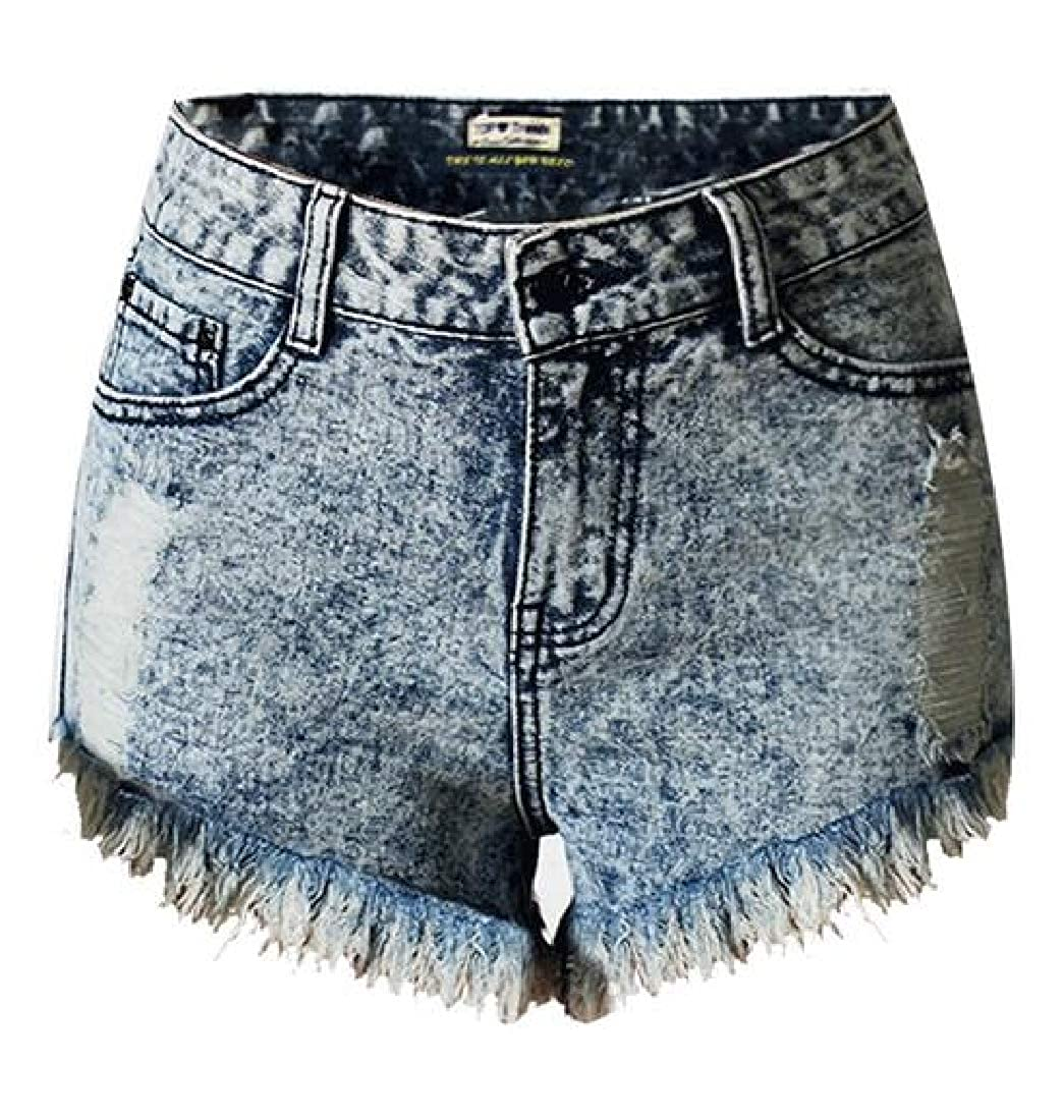 Suncolor8 Womens Bodycon Ripped Holes Cutoff Summer High Rise Denim Shorts Jeans Hot Pants