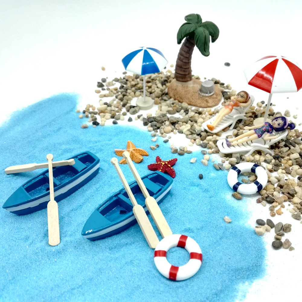 EMiEN 18 Pieces Beach Style Miniature Ornament Kits Set for DIY Fairy Garden Dollhouse Decoration, Blue Sand,Cute Girls,Beach Chair,Boat,Oars,Beach Umbrellas, Coconut Palm,Lift Buoy,Starfish
