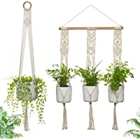 Macrame Plant Hangers Indoor - Handmade - 1 x Triple and 1 x Single Plant Hanger - Holds 4 Plants - Hanging Planters for…