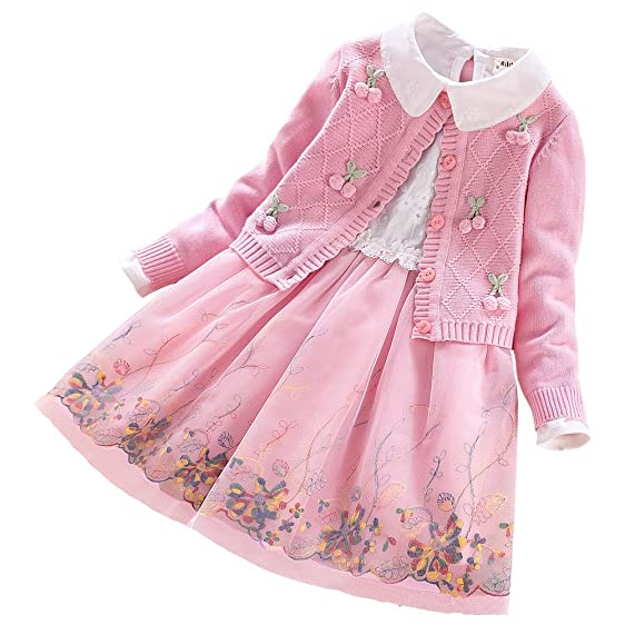 AMUR LEOPARD Girls Embroidery Tulle Princess Dress and Knit Cardigan Sweater 2Pcs