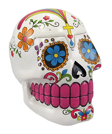 Amazon White Sugar Skull Mexican Day Of The Dead Trinket Box Home Kitchen