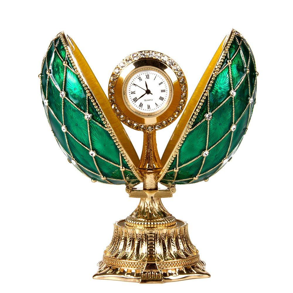 OrlovNY Swarovski Crystals Faberge Egg: Imperial Netting and Clock Egg with Rhinestones in Green by OrlovNY (Image #3)