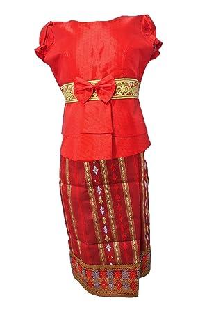 Amazon Com Red Lao Laos Silk Blouse Short Sleeve Skirt Girl Size 7