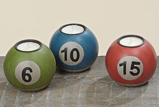 Juego de 3 soportes para velas, diseño de bolas de billar, color ...