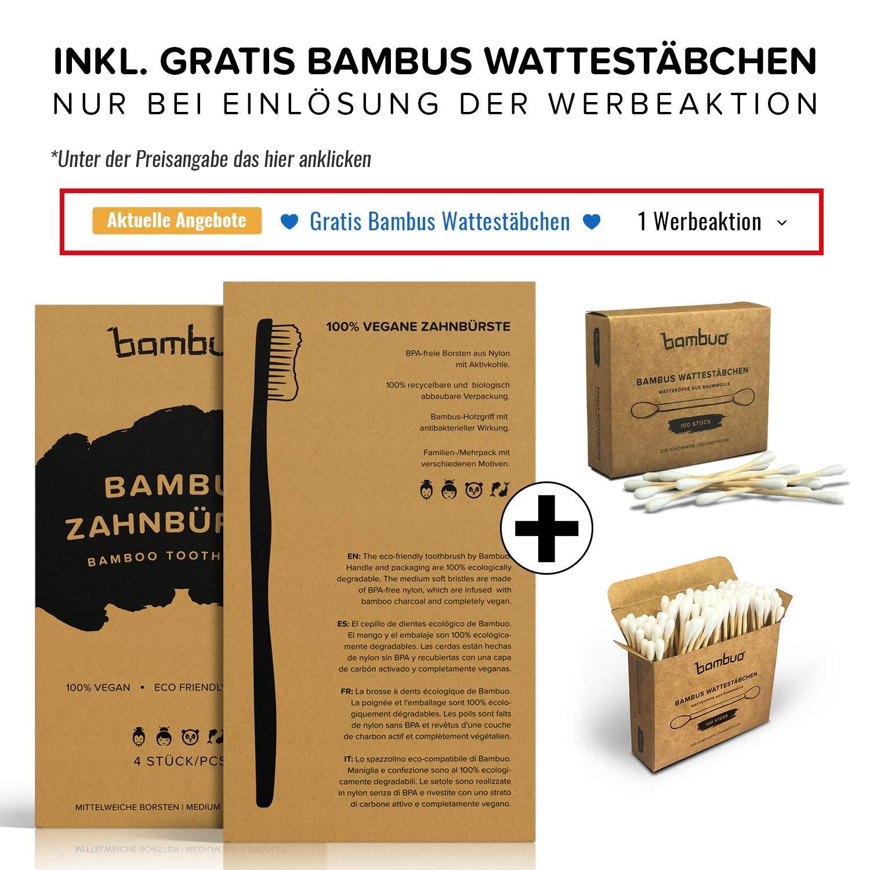 Juego de 4 Bambú Cepillo de dientes · Madera Cepillos de Dientes de bambú · 100% sin de BPA y totalmente Vegano · Medio cerdas suaves de carbón activo de ...