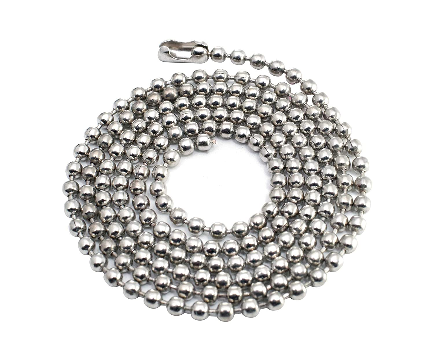 25pcs Nickel Plated Ball Chain Necklace 30 Inches Long 2.4mm Bead Size # 3 Metal Bead Steel Chain Military Bead Chain Dog Tag Necklace by Special100%
