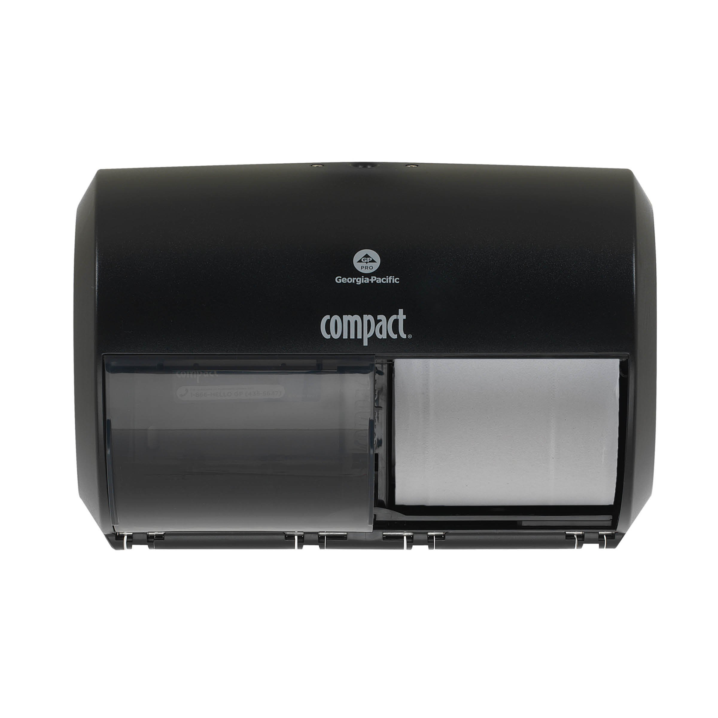 """Compact 2-Roll Side-by-Side Coreless High-Capacity Toilet Paper Dispenser by GP Pro, Black, 56784A, 10.12"""" W x 6.75"""" D x 7.12"""" H"""