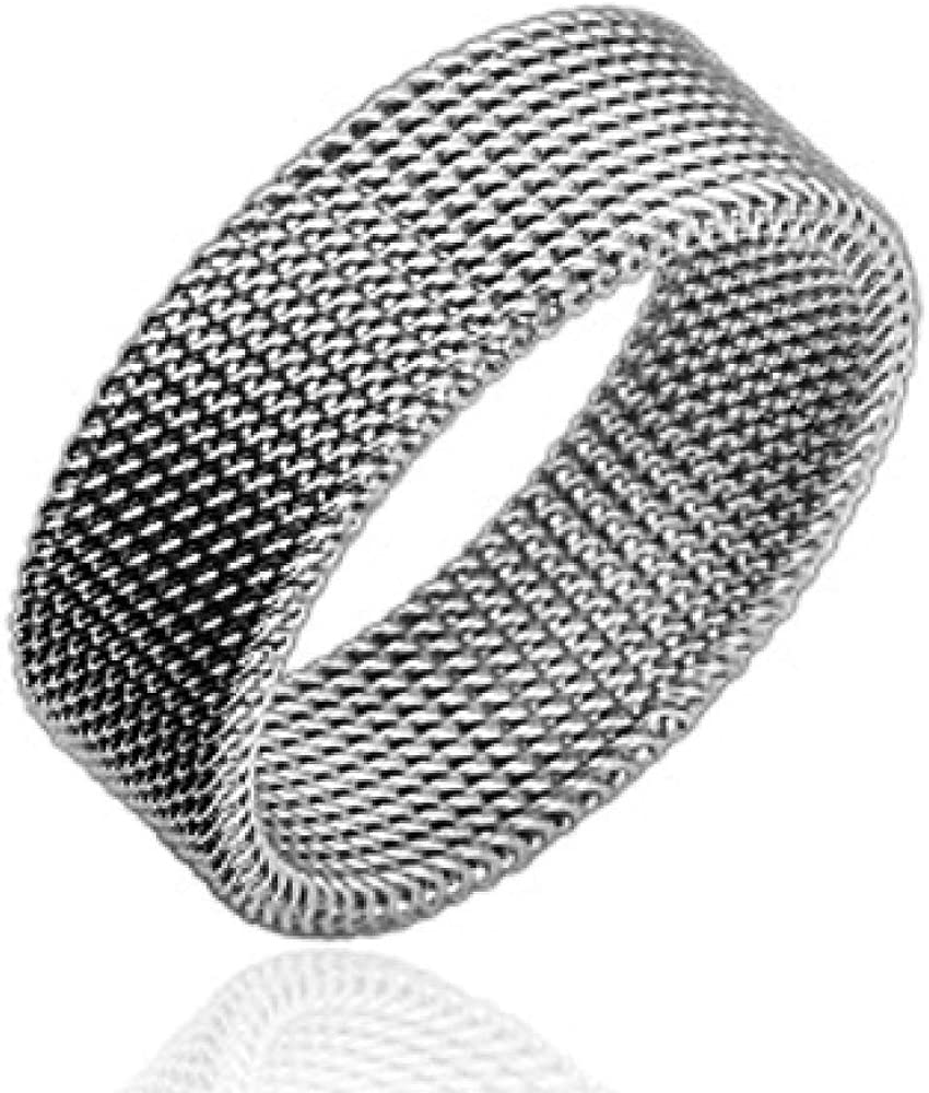 10mm Stainless Steel Flexible Mesh Wedding Band Ring