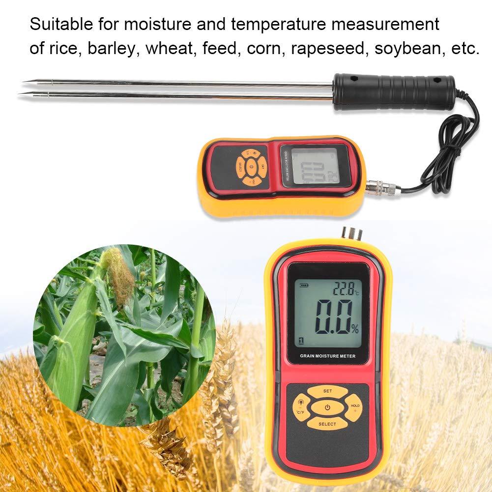 le stockage GM640 Testeur de temp/érature dhumidit/é des grains LCD num/érique portable avec r/étro/éclairage LCD pour lachat de c/ér/éales Compteur de temp/érature dhumidit/é le bl le traitement