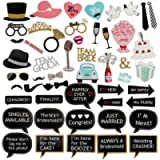 Moguer 52 Pcs Wedding Photo Booth Props Kit Wooden Sticks Strike Colorful Black and Gold Mustache Photo Props for…