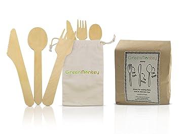 Cubertería de madera desechable ecológica de Green Monkey – cero residuos de plástico y 100%