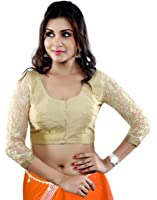 Studio Shringaar Golden Blouse With Lace Sleeves