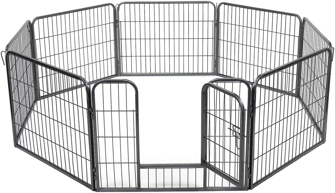 JAXPETY 8-Panel Folding Exercise Pet Playpen, 24 H Dog Fences Puppy Gate Home Indoor Outdoor
