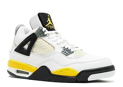 6839c17434f7 Nike Mens Air Jordan 4 Retro LS White Tour Yellow-Dark Grey Leather Size