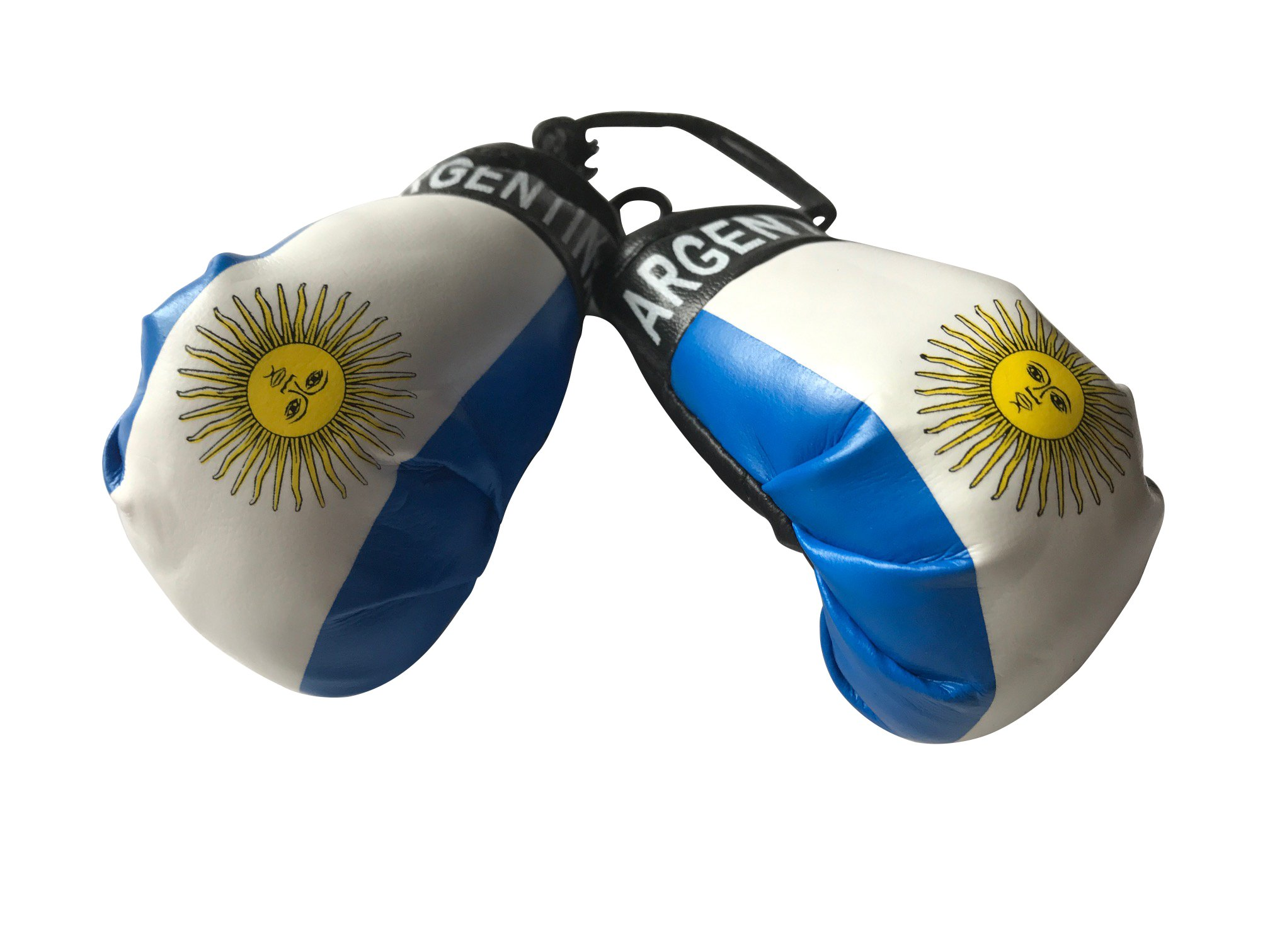 Flag Mini Small Boxing Gloves to Hang Over Car Automobile Mirror – Americas (Country: Argentina)