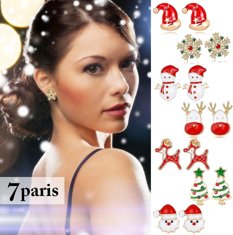 Fascigirl 7 Pairs Christmas Earrings Cute Xmas Style Stud for Women Gift