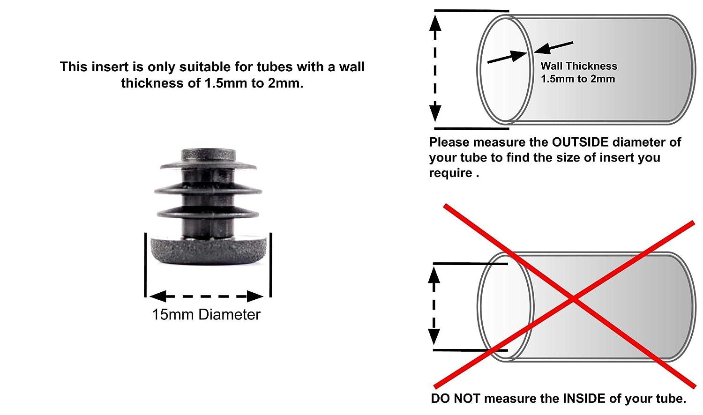 Inserte Los Tapones Para Tubos Redondos Tapas de Pl/ástico Negro, 15mm de di/ámetro, Paquete de 24 Hecho en Alemania