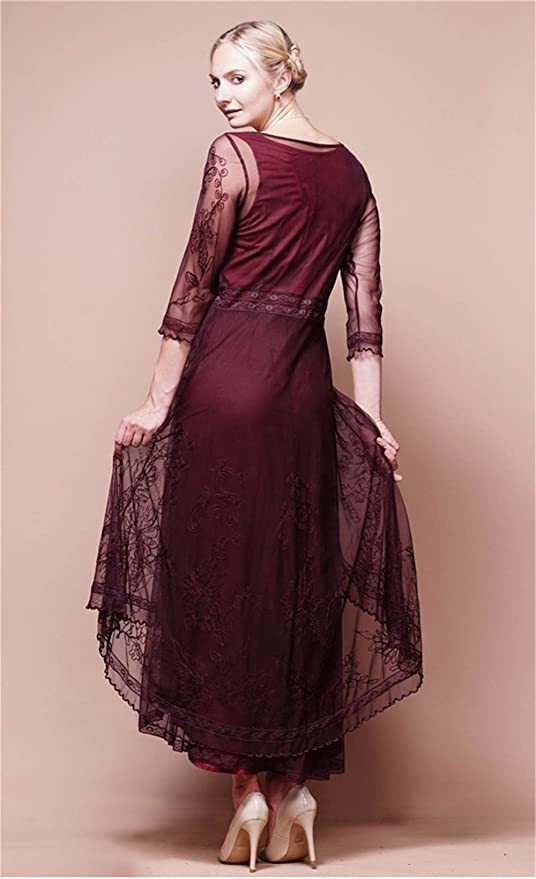 5870fcc3f532 Fenghuavip 3/4 Sleeve Burgundy Lace Bridal Mother Dress Hi-lo Maxi Length  at Amazon Women's Clothing store: