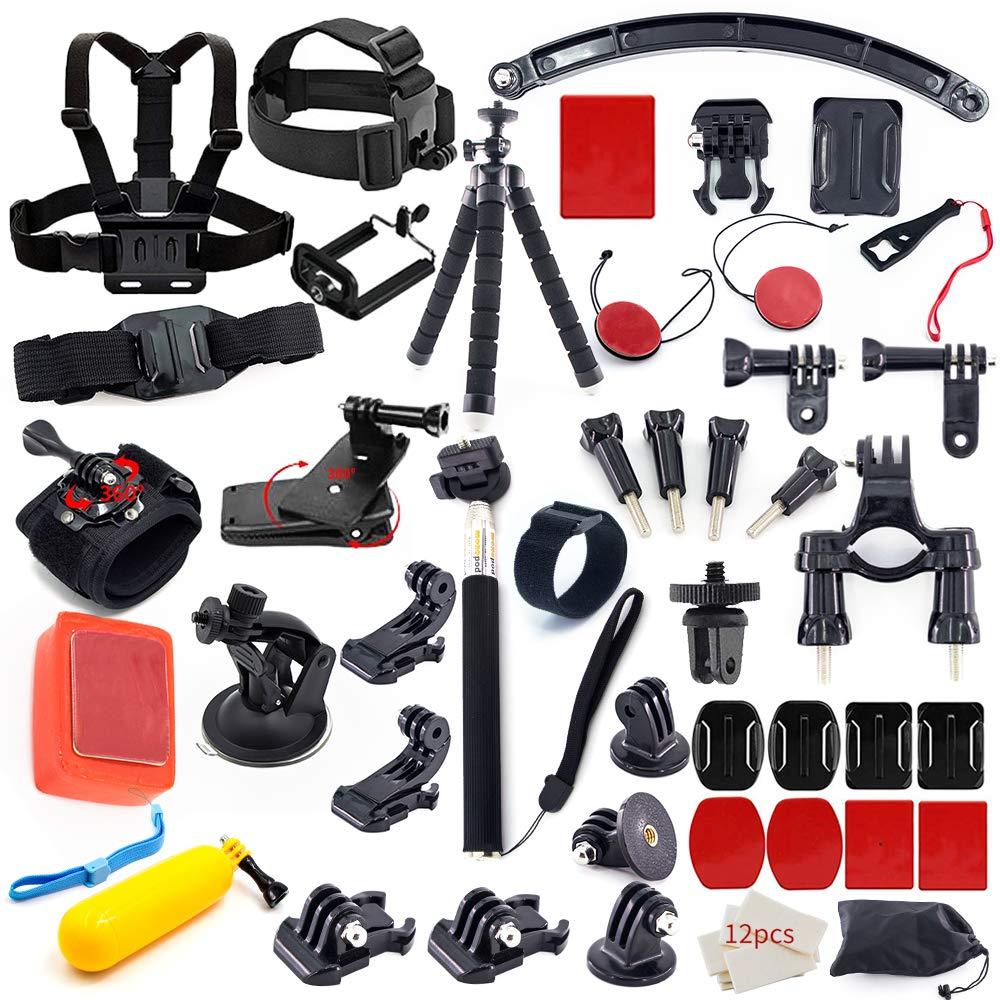 MOUNTDOG Action Camera Accessory Kit for Go Pro Hero 7 6 5 4 3+ 3 2 1 Hero Session 5 Black AKASO EK7000 Apeman SJ4000 DBPOWER Campark with Selfie Stick Tripod Straps Car Suction Accessories by MOUNTDOG