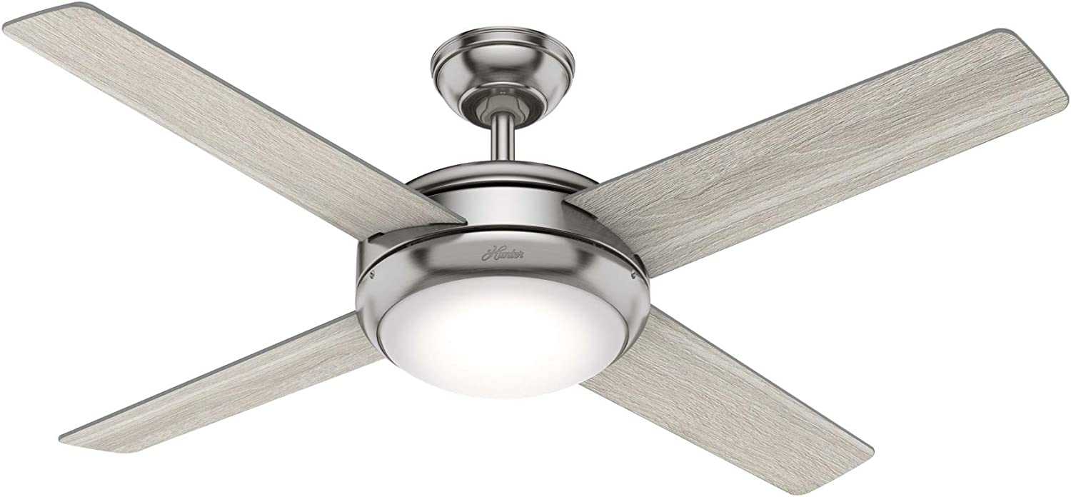 """Hunter Fan Company 50848 Marconi Indoor Ceiling Fan with LED Light and Wall Control, 52"""", Brushed Nickel"""