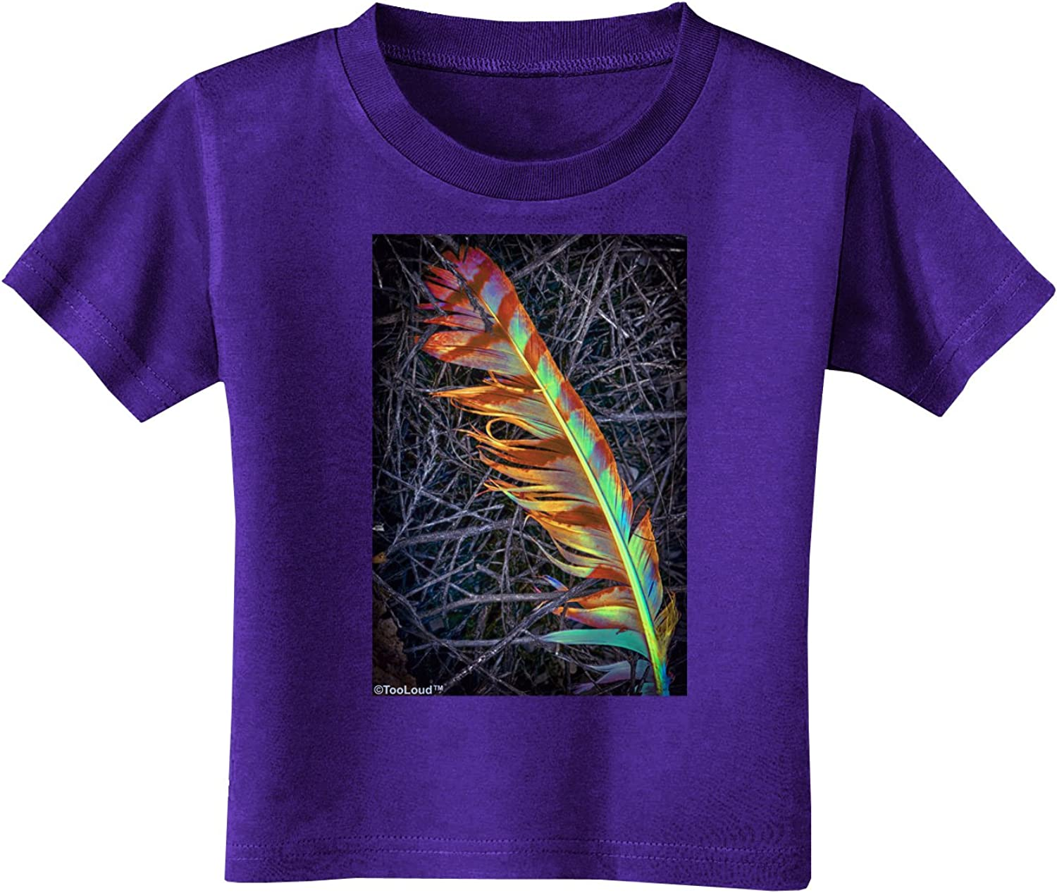 TooLoud Rainbow Feather Toddler T-Shirt Dark