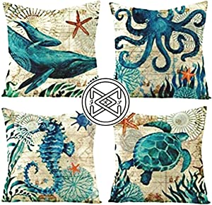 FRProd PRINT BOTH SIDES HIGHER QUALITY MICROFIBER Marine Sea Life Pillow Covers 4PCS 18x18 Decorative Cases SUPER Soft Square Cushion Sofa Couch Bed Boat RV Beach Aquatic Octopus Dolphin Turtle Whale