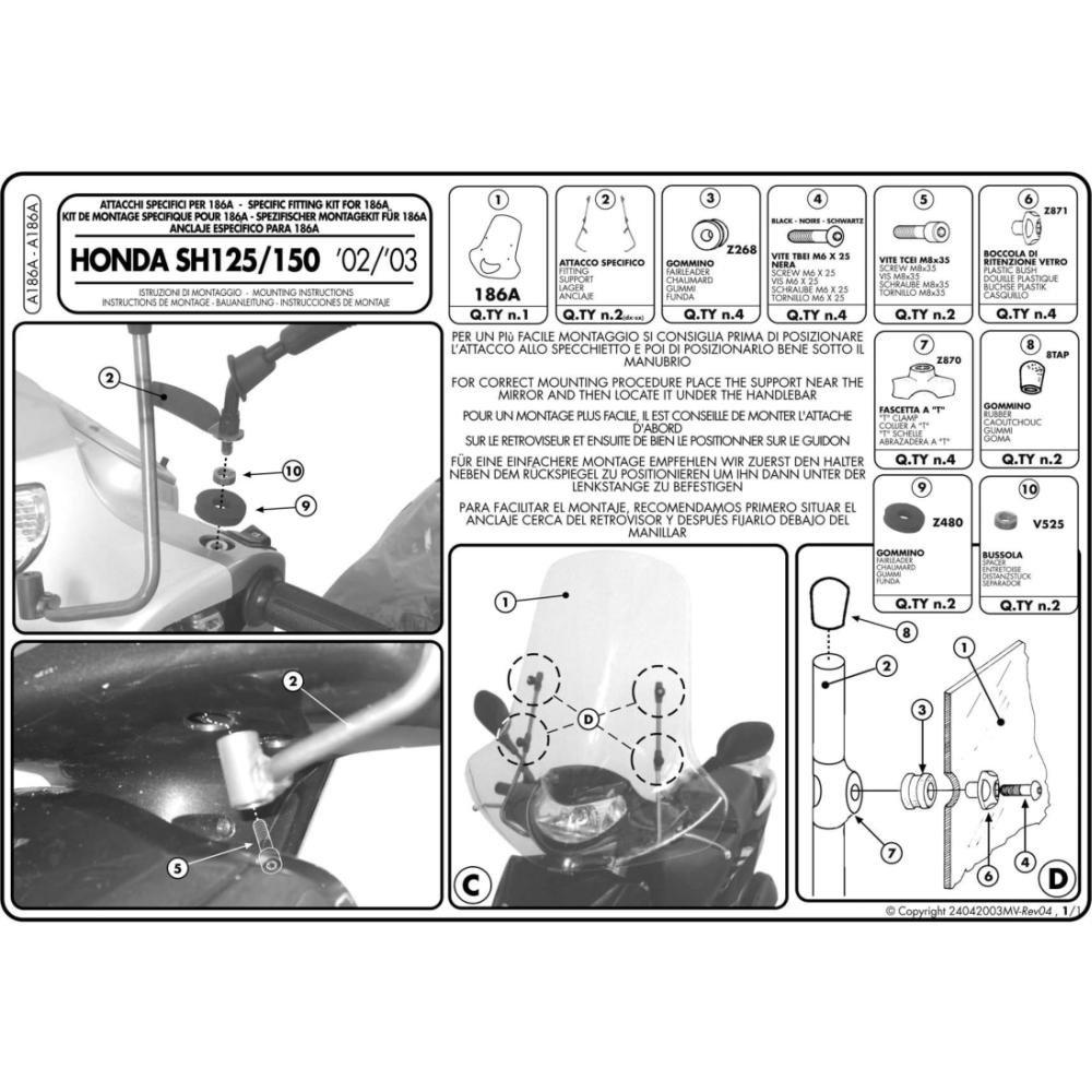 Givi attacchi par.hon.sh125-150'04 cod. A186a