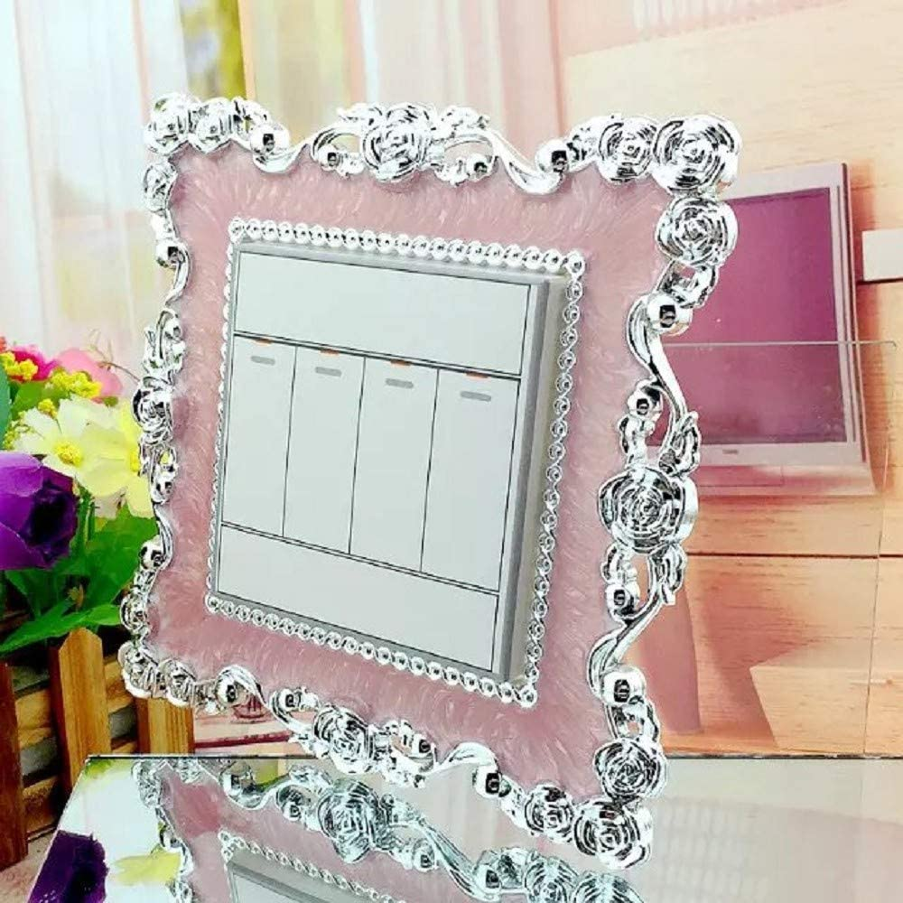 Pink Silver Double//Single Light Switch Cover Plate Rose Lace Switch Sticker Wall DIY Decoration Silver Living Room Decorative Wall Stickers