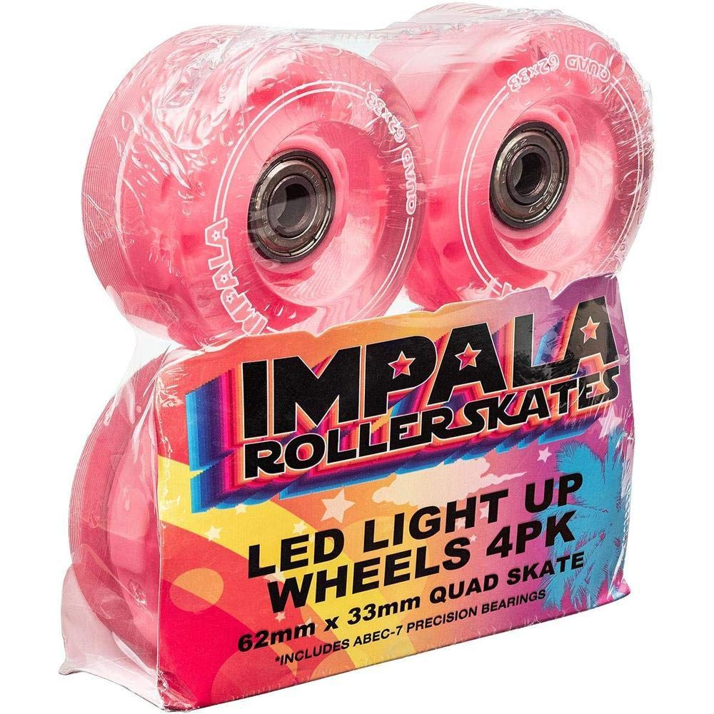 Impala Light-Up Led Wheel Set with Bearings 62mm 82a Pink (One Set is 4 Wheels)