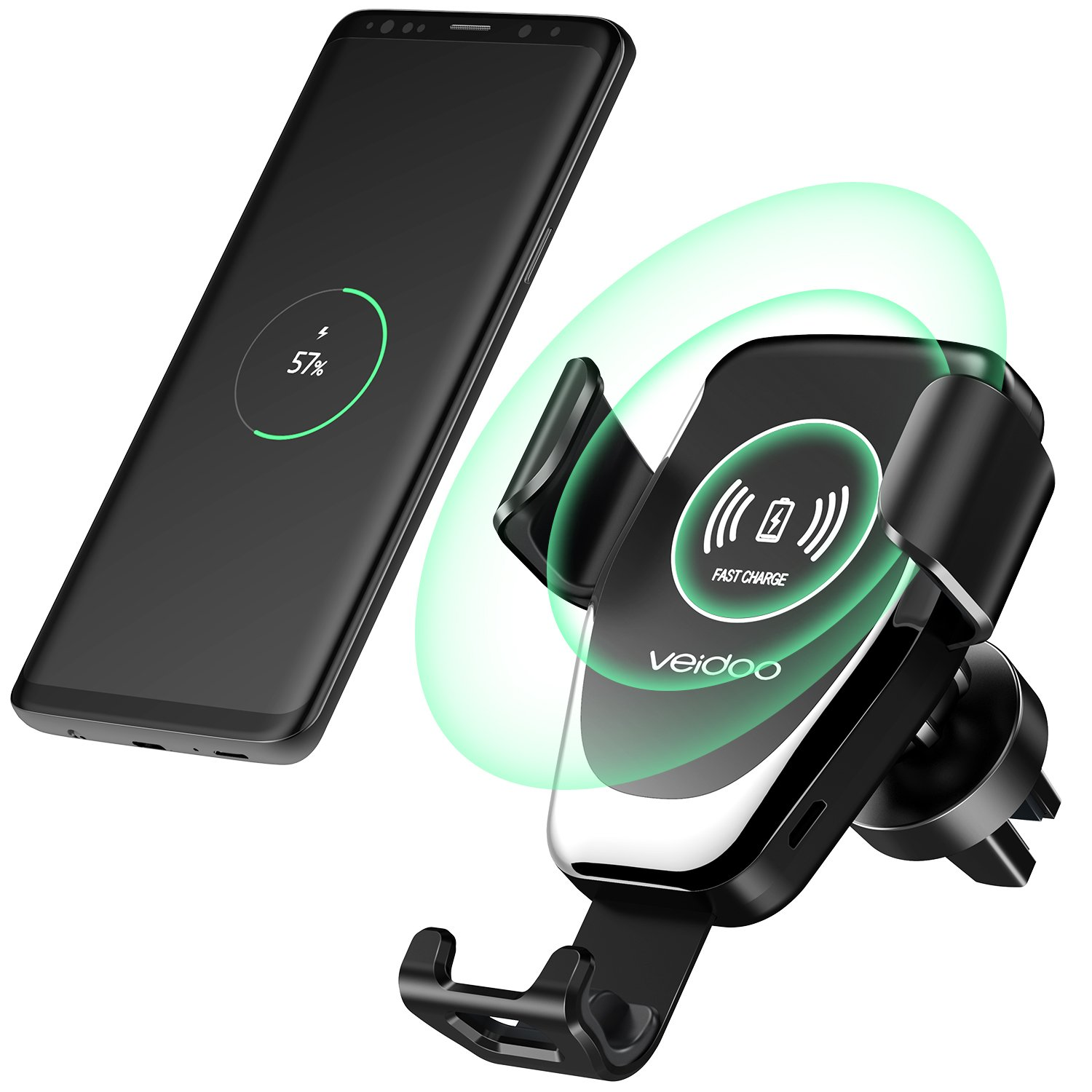 Wireless Car Charger, Veidoo Gravity Fast Charge Car Mount Air Vent Phone Holder for Samsung Galaxy S9 S9 Plus S8 S7/S7 Edge Note 8 5 & Standard Charge for iPhone X 8/8 Plus (Black)