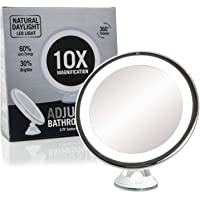 "Fancii Daylight LED 10X Magnifying Makeup Mirror - 8.0"" Large Lighted Travel Vanity Mirror - Dimmable Light, Cordless, Battery Operated, Locking Suction, 360 Rotation, Portable & Illuminated"